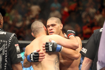 May 25, 2013; Las Vegas, NV, USA; UFC heavyweight Cain Velasquez is congratulated by Antonio Silva after being defeated by him at UFC 160 at the MGM Grand Garden Arena. Mandatory Credit: Bruce Fedyck-USA TODAY Sports