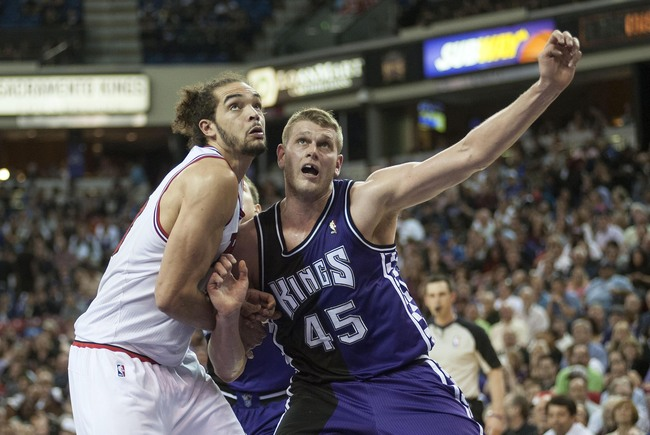 Mar 13, 2013; Sacramento, CA, USA; Chicago Bulls center Joakim Noah (13) and Sacramento Kings center Cole Aldrich (45) fight for position under the basket during the second quarter at Power Balance Pavilion. The Sacramento Kings defeated the Chicago Bulls