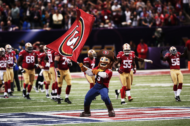 NEW ORLEANS, LA - FEBRUARY 03:  San Francisco 49ers mascot Sourdough Sam waves a flag on the field as players take the field against the Baltimore Ravens during Super Bowl XLVII at the Mercedes-Benz Superdome on February 3, 2013 in New Orleans, Louisiana.