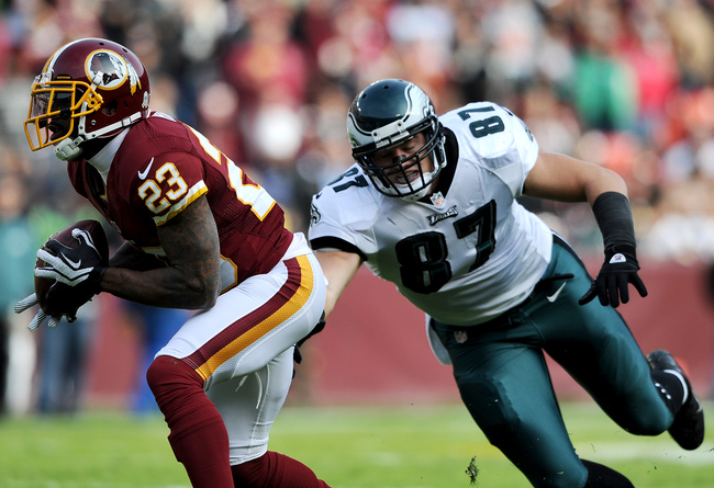 LANDOVER, MD - NOVEMBER 18: Cornerback DeAngelo Hall #23 of the Washington Redskins intercepts a ball intended for tight end Brent Celek #87 of the Philadelphia Eagles in the first quarter at FedEx Field on November 18, 2012 in Landover, Maryland. (Photo
