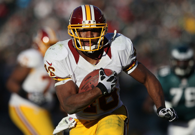 PHILADELPHIA, PA - DECEMBER 23:  Alfred Morris #46 of the Washington Redskins runs with the ball against the Philadelphia Eagles at Lincoln Financial Field on December 23, 2012 in Philadelphia, Pennsylvania.  (Photo by Alex Trautwig/Getty Images)