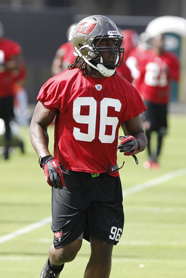 May 29, 2013; Tampa, FL, USA; Tampa Bay Buccaneers defensive end Steven Means (96) during organized team activities at One Buccaneer Place. Mandatory Credit: Kim Klement-USA TODAY Sports