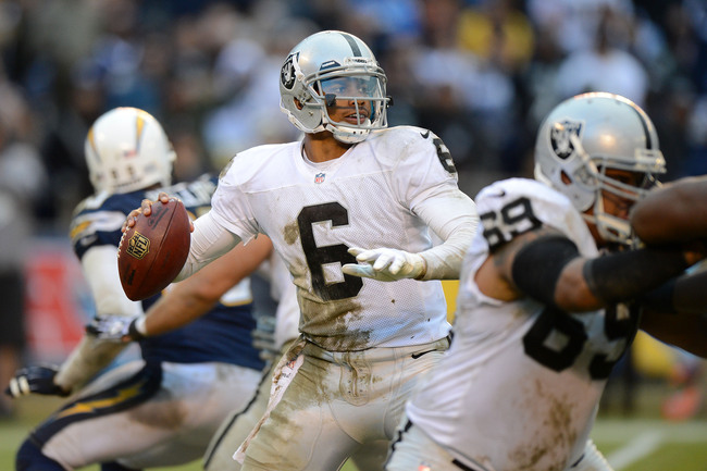 Dec 30, 2012; San Diego, CA, USA; Oakland Raiders quarterback Terrelle Pryor (6) drops back to pass during the fourth quarter against the San Diego Chargers at Qualcomm Stadium. Mandatory Credit: Jake Roth-USA TODAY Sports