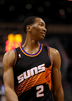 Feb. 10, 2013; Phoenix, AZ, USA: Phoenix Suns small forward Wesley Johnson against the Oklahoma City Thunder at the US Airways Center. Mandatory Credit: Mark J. Rebilas-USA TODAY Sports