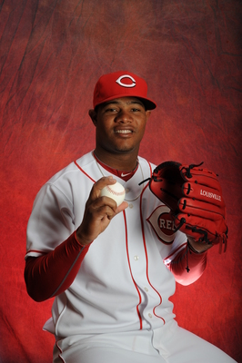 GOODYEAR, AZ - FEBRUARY 16:   Daniel Corcino #67 of the Cincinnati Reds poses during MLB photo day on  February 16, 2013 at the Goodyear Ballpark in Goodyear, Arizona. (Photo by Rich Pilling/Getty Images)