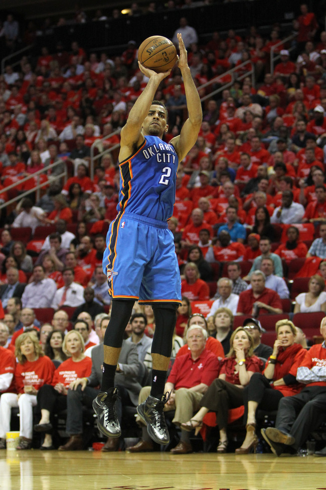 Apr 29, 2013; Houston, TX, USA; Oklahoma City Thunder shooting guard Thabo Sefolosha (2) takes  a shot against the Houston Rockets in the third quarter in game four of the first round of the 2013 NBA playoffs at the Toyota Center. The Rockets defeated the