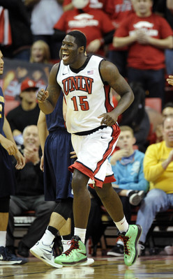 Dec 22, 2012; Las Vegas, NV, USA; UNLV Runnin' Rebels freshman forward Anthony Bennett (15) reacts after a play against the Canisius Golden Griffins during the second half at the Thomas and Mack Center. UNLV defeated Canisius 89-74. Mandatory Credit: Josh