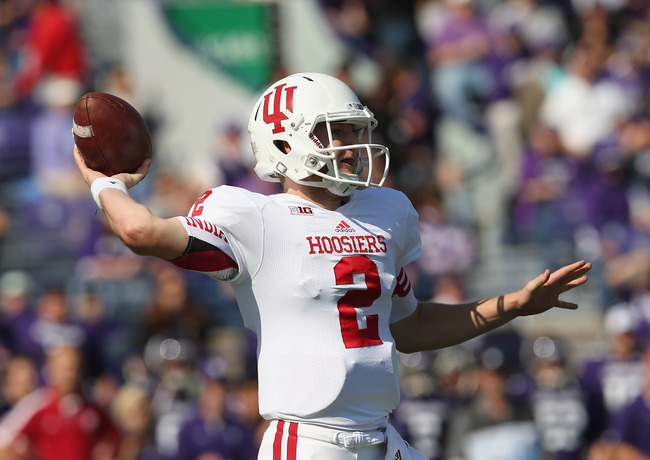 EVANSTON, IL - SEPTEMBER 29: Cameron Coffman #2 of the Indiana Hoosiers throws a pass against the Northwestern Wildcats at Ryan Field on September 29, 2012 in Evanston, Illinois. Northwestern defeated Indiana 44-29.  (Photo by Jonathan Daniel/Getty Images