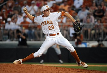 June 12, 2011; Austin, TX, USA; Texas Longhorns pitcher Corey Knebel (29) pitches against the Arizona State Sun Devils during the ninth inning of the Austin super regional game at Disch-Falk Field. Texas beat Arizona State 4-2. Mandatory Credit: Brendan M