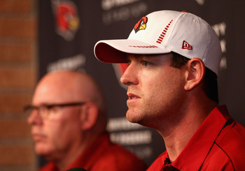 TEMPE, AZ - APRIL 02:  Quarterback Carson Palmer of the Arizona Cardinals speaks at a press conference after being acquired in a trade with the Oakland Raiders at the team's training center facility on April 2, 2013 in Tempe, Arizona.  (Photo by Christian