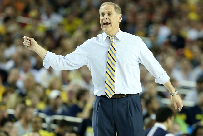 ATLANTA, GA - APRIL 06:  Head coach John Beilein of the Michigan Wolverines reacts in the first half against the Syracuse Orange during the 2013 NCAA Men's Final Four Semifinal at the Georgia Dome on April 6, 2013 in Atlanta, Georgia.  (Photo by Streeter
