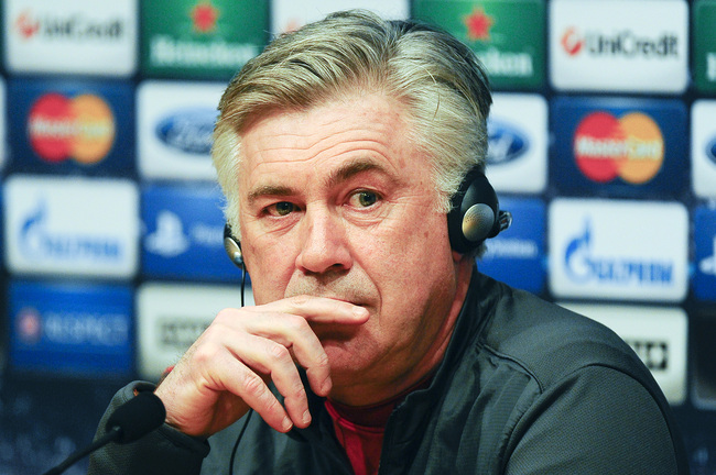 BARCELONA, SPAIN - APRIL 09:  Carlo Ancelotti of Paris Saint-Germain speaks to the media during a press conference ahead the UEFA Champions League quarter-final second leg match between FC Barcelona and Paris St Germain at the Joan Gamper Sport Complex on
