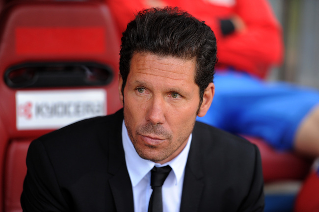 MADRID, SPAIN - APRIL 27:  Atletico de Madrid head coach Diego Simeone looks on during the La Liga match between Atletico de Madrid and Real Madrid at estadio Vincente Calderon on April 27, 2013 in Madrid, Spain.  (Photo by Denis Doyle/Getty Images)