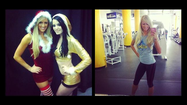 Summer Rae and Paige on left, Summer Rae selfie on right (Photo from WWE.com)