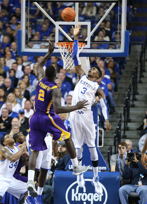LEXINGTON, KY - JANUARY 26:  Nerlens Noel #3 of the Kentucky Wildcats reaches to block the shot of Johnny O'Bryant #2 of the LSU Tigers during the game at Rupp Arena on January 26, 2013 in Lexington, Kentucky.  (Photo by Andy Lyons/Getty Images)