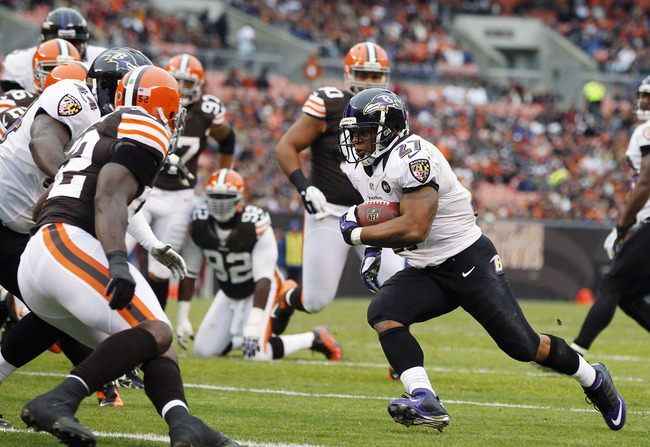 CLEVELAND, OH - NOVEMBER 04:  Running back Ray Rice #27 of the Baltimore Ravens scores a touchdown in front of defensive back Buster Skrine #22 of the Cleveland Browns at Cleveland Browns Stadium on November 4, 2012 in Cleveland, Ohio.  (Photo by Matt Sul