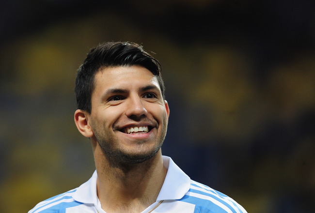 STOCKHOLM, SWEDEN - FEBRUARY 06:  Sergio Aguero of Argentina in action during the International Friendly match between Sweden and Argentina at the Friends Arena on February 6, 2013 in Stockholm, Sweden.  (Photo by Jamie McDonald/Getty Images)