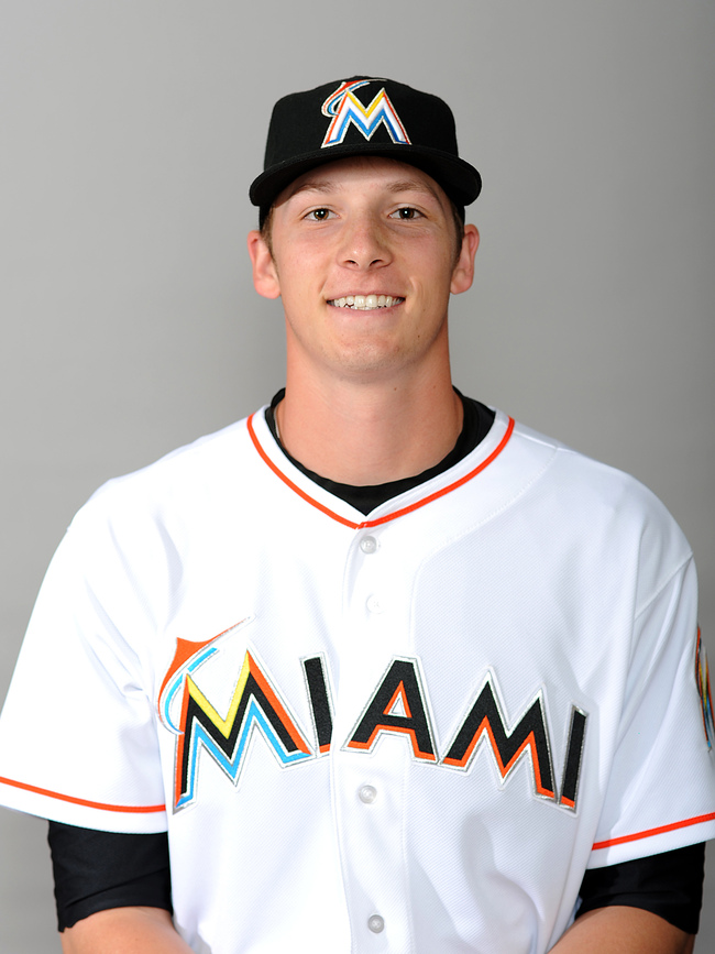 Feb 22, 2013; Jupiter, FL, USA; Miami Marlins player Adam Conley (83) poses for a picture during photo day at Roger Dean Stadium. Mandatory Credit: Steve Mitchell-USA TODAY Sports