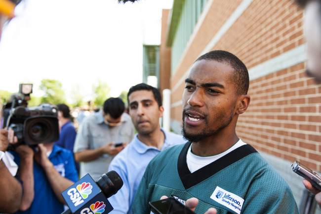 Jun 4, 2013; Philadelphia, PA, USA; Philadelphia Eagles wide receiver DeSean Jackson (10) addresses the media during minicamp at the NovaCare Complex. Mandatory Credit: Howard Smith-USA TODAY Sports
