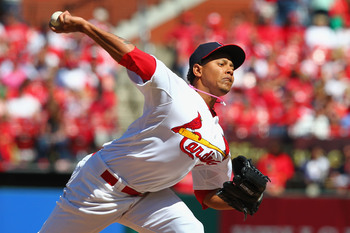 ST. LOUIS, MO - MAY 12: Reliever Carlos Martinez #62 of the St. Louis Cardinals pitches against the Colorado Rockies at Busch Stadium on May 12, 2013 in St. Louis, Missouri.  The Rockies beat the Cardinals 8-2.  (Photo by Dilip Vishwanat/Getty Images)