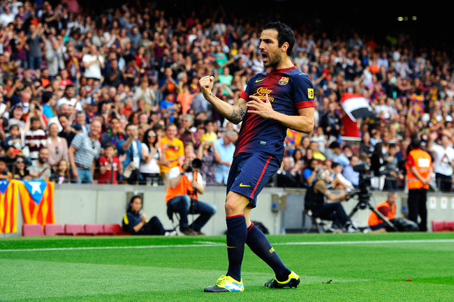 BARCELONA, SPAIN - JUNE 01:  Cesc Fabregas of FC Barcelona celebrates after scoring his team's second goal during the La Liga match between FC Barcelona and Malaga CF at Camp Nou on June 1, 2013 in Barcelona, Spain.  (Photo by David Ramos/Getty Images)