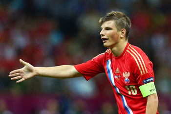 Arshavin captaining Russia at Euro 2012