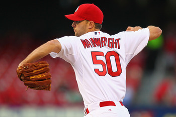 ST. LOUIS, MO - APRIL 29: Starter Adam Wainwright #50 of the St. Louis Cardinals pitches against the Cincinnati Reds at Busch Stadium on April 29, 2013 in St. Louis, Missouri.  (Photo by Dilip Vishwanat/Getty Images)
