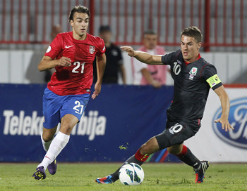 Markovic (left) playing for Serbia