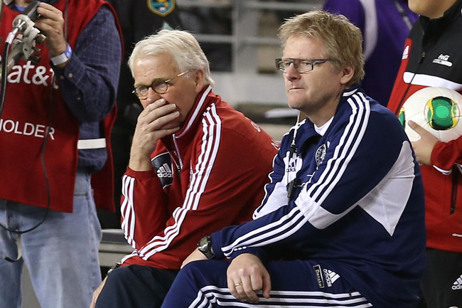 GLENDALE, AZ - JANUARY 30:  Head coach Morten Olsen (L) of Denmark during an international friendly match against Mexico at University of Phoenix Stadium on January 30, 2013 in Glendale, Arizona. Mexico and Denmark ended in a 1-1 draw.  (Photo by Christia
