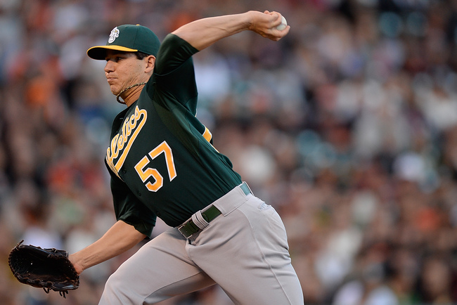 SAN FRANCISCO, CA - MAY 29:  Tommy Milone #57 of the Oakland Athletics pitches against the San Francisco Giants in the first inning at AT&T Park on May 29, 2013 in San Francisco, California.  (Photo by Thearon W. Henderson/Getty Images)