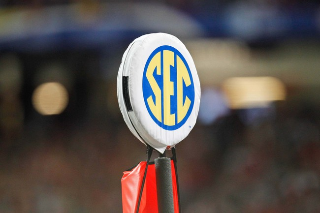 Dec 3, 2011; Atlanta, GA, USA; A detailed view of an SEC logo on a yard marker during the first half of the 2011 SEC championship game between the LSU Tigers and the Georgia Bulldogs at the Georgia Dome.  Mandatory Credit: Derick E. Hingle-USA TODAY Sport