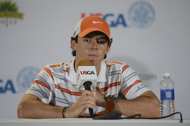 June 11, 2013; Ardmore, PA, USA; Rory McIlroy addresses the media in a press conference during the practice round of the 113th U.S. Open golf tournament at Merion Golf Club. Mandatory Credit: Eileen Blass-USA TODAY Sports