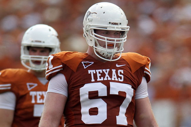AUSTIN, TX - SEPTEMBER 25:  Offensive guard Mason Walters #67 of the Texas Longhorns at Darrell K Royal-Texas Memorial Stadium on September 25, 2010 in Austin, Texas.  (Photo by Ronald Martinez/Getty Images)