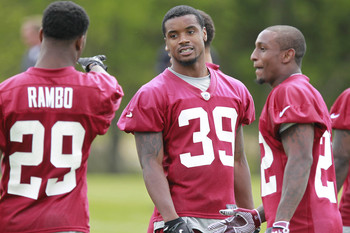 Rookie defensive backs at Redskins Rookie minicamp in May 2013.