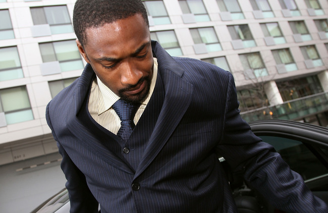 WASHINGTON - MARCH 26: NBA player Gilbert Arenas of the Washington Wizards arrives at District of Columbia Court March 26, 2010 in Washington, DC. The Wizards star will receive his sentence today for bringing guns into the locker room.  (Photo by Mark Wil