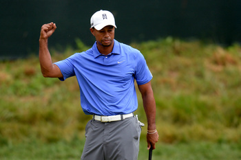 A 50-footer for birdie got this reaction from Tiger Woods.