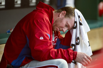After posting an 8.65 ERA in seven starts, Roy Halladay is on the DL and could miss the rest of the season.