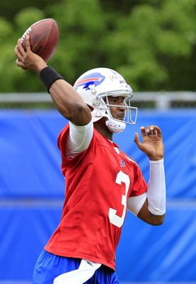 Jun 11, 2013; Buffalo, NY, USA; Buffalo Bills quarterback E.J. Manuel (3) passes the ball during mini-camp at Ralph Wilson Stadium. Mandatory Credit: Kevin Hoffman-USA TODAY Sports