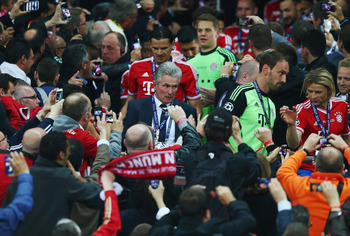 LONDON, ENGLAND - MAY 25:  Head Coach Jupp Heynckes of Bayern Muenchen walks down the steps following victory in the UEFA Champions League final match between Borussia Dortmund and FC Bayern Muenchen at Wembley Stadium on May 25, 2013 in London, United Ki