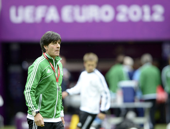 WARSAW, POLAND - JUNE 27:  Germany head coach Joachim Low attends a training session ahead of their UEFA EURO 2012 semi-final match against Italy, at National Stadium on June 27, 2012 in Warsaw, Poland.  (Photo by Claudio Villa/Getty Images)