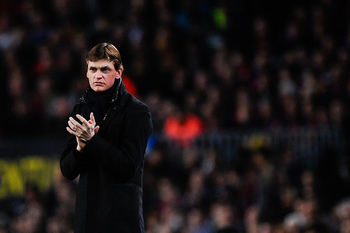 BARCELONA, SPAIN - APRIL 10:  Head coach Tito Vilanova of FC Barcelona looks on during the UEFA Champions League quarter-final second leg match between Barcelona and Paris St Germain at Nou Camp on April 10, 2013 in Barcelona, Spain.  (Photo by David Ramo