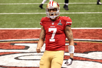 Kaepernick celebrates a touchdown in the Super Bowl.