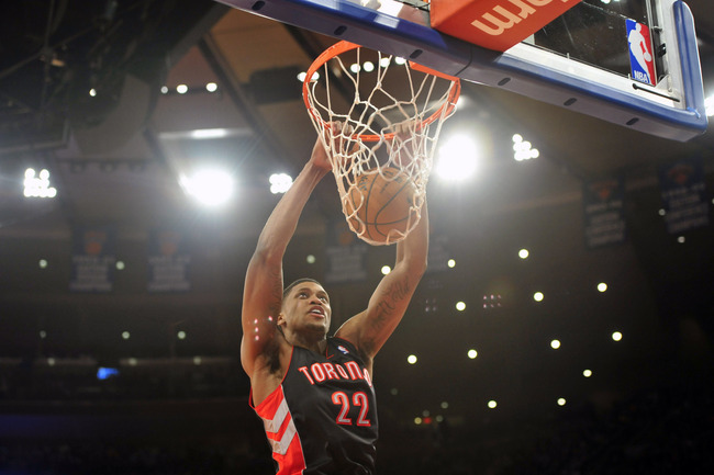 Feb 13, 2013; New York, NY, USA; Toronto Raptors small forward Rudy Gay (22) dunks against the New York Knicks during the first half at Madison Square Garden. Mandatory Credit: Joe Camporeale-USA TODAY Sports