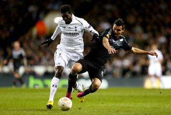 Lovren (right) challenging Emmanuel Adebayor during a Europa League encounter