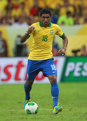 Paulinho in Confederations Cup action.