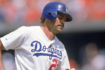 LOS ANGELES - 1988:  Kirk Gibson #23 of the Los Angeles Dodgers runs the bases during a 1988 game at Dodger Stadium in Los Angeles, California.  (Photo by Mike Powell/Getty Images)