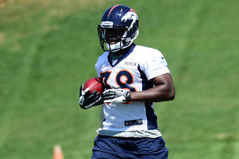 May 10, 2013; Englewood, CO, USA; Denver Broncos  running back Montee Ball (38) during rookie minicamp at the Broncos training facility. Mandatory Credit: Ron Chenoy-USA TODAY Sports