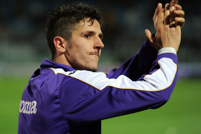 PESCARA, ITALY - MAY 19:  Stevan Jovetic of Fiorentina after the Serie A match between Pescara and ACF Fiorentina at Adriatico Stadium on May 19, 2013 in Pescara, Italy.  (Photo by Giuseppe Bellini/Getty Images)