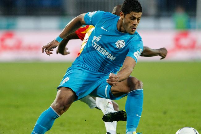 ST. PETERSBURG, RUSSIA - MAY 04: Hulk of FC Zenit St. Petersburg in action during the Russian Football League Championship match between FC Zenit St. Petersburg and FC Alania Vladikavkaz at the Petrovsky stadium on May 4, 2013 in St. Petersburg, Russia. (
