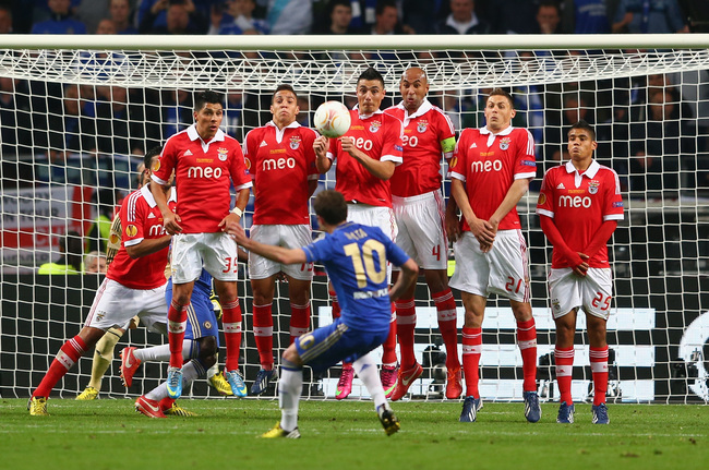AMSTERDAM, NETHERLANDS - MAY 15: Benfica defend against a freekick from Juan Mata of Chelsea  during the UEFA Europa League Final between SL Benfica and Chelsea FC at Amsterdam Arena on May 15, 2013 in Amsterdam, Netherlands.  (Photo by Michael Steele/Get